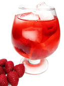 Fruit red punch cocktail drink with raspberry — Stock Photo