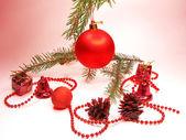 Red christmas ball and ribbon — Stock Photo