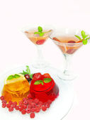 Cherry dessert fruit jelly and alcohol cocktails — Stock Photo