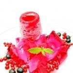 Pink ice-cream with fruit marmalde dessert — Stock Photo