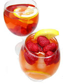 Two fruit red punch cocktail drinks with raspberry — Stock Photo