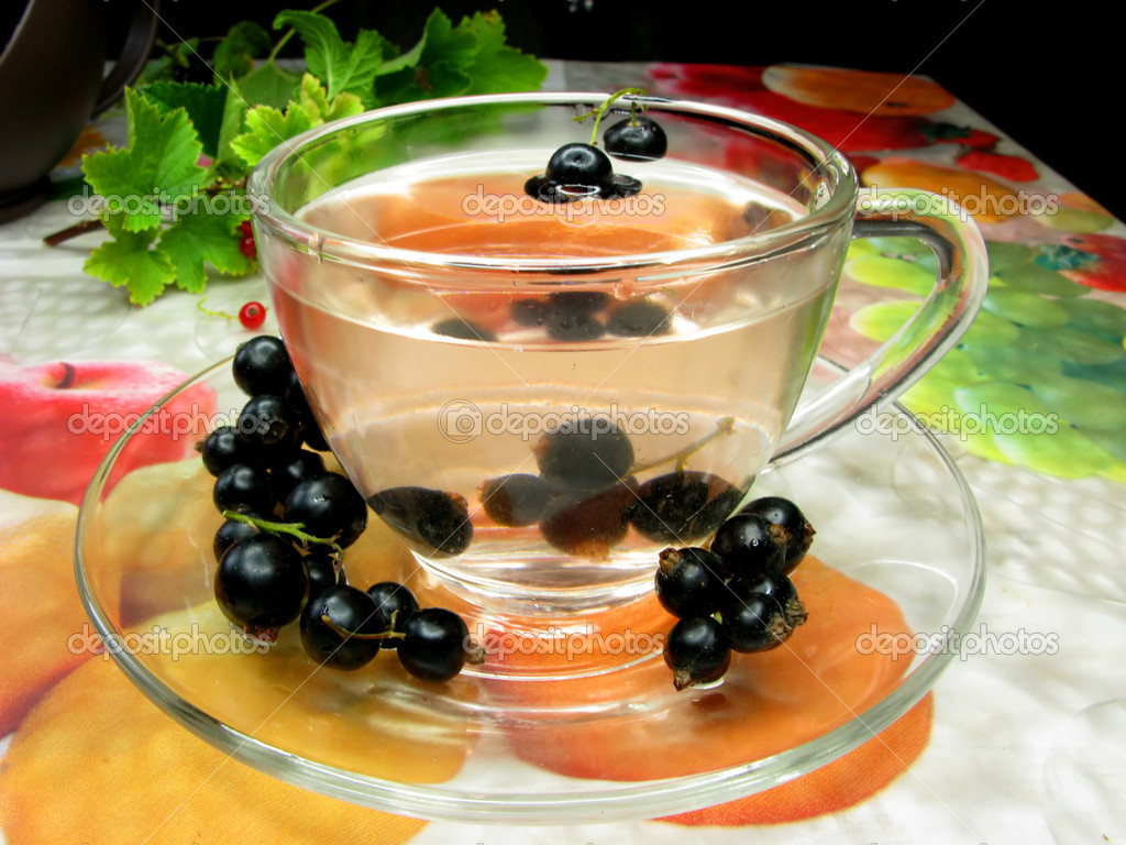 Fruit herbal tea with black currant extract and berries  Stock Photo #9674143