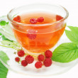 Herbal tea with raspberry extract — Stock Photo