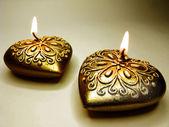 Lázně aroma vonné svíčky sada tvaru srdce — Stock fotografie