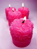 Roze aroma spa geurende kaarsen set — Stockfoto