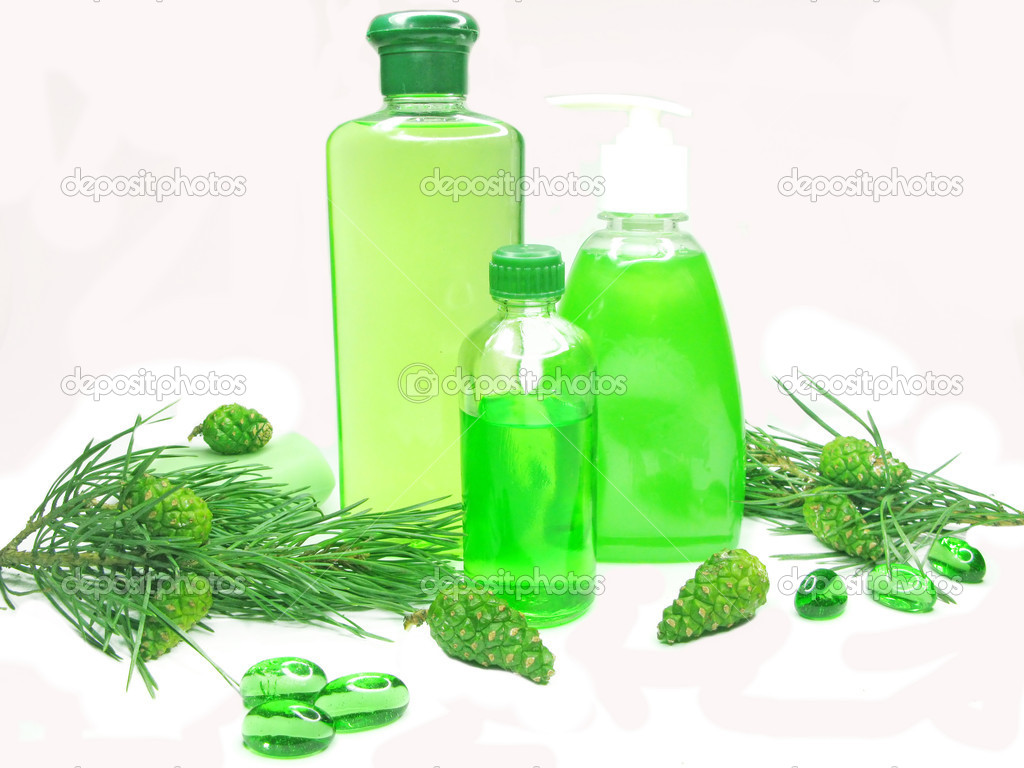 Green shower gel bottle set with fir natural coniferous extract  Stock Photo #9688368