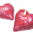 Pink candles set heart shape - Foto Stock