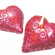 Pink candles set heart shape - Stockfoto