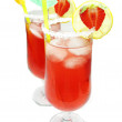 Alcohol liqueur cocktail with strawberry — Stock Photo