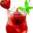 Fruit red punch cocktail drink with strawberry — Stock Photo