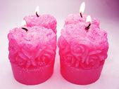 Roze geparfumeerd aroma kaarsen set — Stockfoto