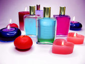 Spa candles aroma oils bottls — Stock Photo