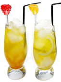 Fruit cold juice drinks with lemon — Stock Photo