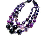 Amethyst semiprecious beads necklace — Stok fotoğraf