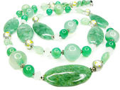 Green semiprecious beads necklace — Stok fotoğraf