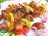 Grilled barbecue meat with vegetables — Stok fotoğraf