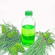 Spa aroma green oil bottle with fir extract — Stock Photo