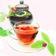 Stock Photo: Fruit raspberry red tewith currant extract