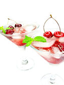 Alcohol liqueur cocktails with cherry — Stock Photo