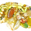 Heap of yellow semiprecious beads — Stock Photo