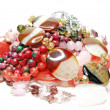 Heap of pink semigem beads - Stock Photo