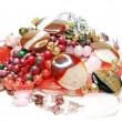 Heap of pink semigem beads — Stock Photo