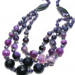 Amethyst semiprecious necklace beads — Stok Fotoğraf #9923589