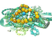 Heap of green semigem beads — Stock Photo
