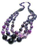 Amethyst semiprecious necklace beads — Stok fotoğraf