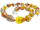 Bright agate semiprecious beads — Stock Photo