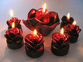Rose spa geurende kaarsen instellen in duisternis — Stockfoto
