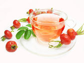 Fruit herbal tea with wild rose hip extract — 图库照片