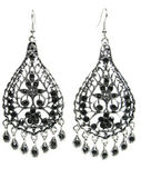 Jewelry earrings with bright black crystals — Стоковое фото