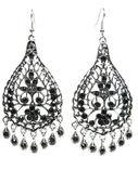 Smycken örhängen med ljusa svarta kristaller — Stockfoto