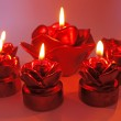 Red rose spa aroma candles set — Stock Photo