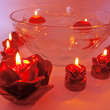 Spa red rose scented aroma candles — Stock Photo #9941580
