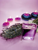 Spa candles lavender oil — Stock Photo