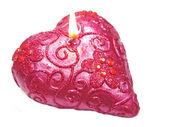 Pink scented aroma candle heart shape — Stock Photo