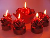 Röd ros spa doft ljus set — Stockfoto