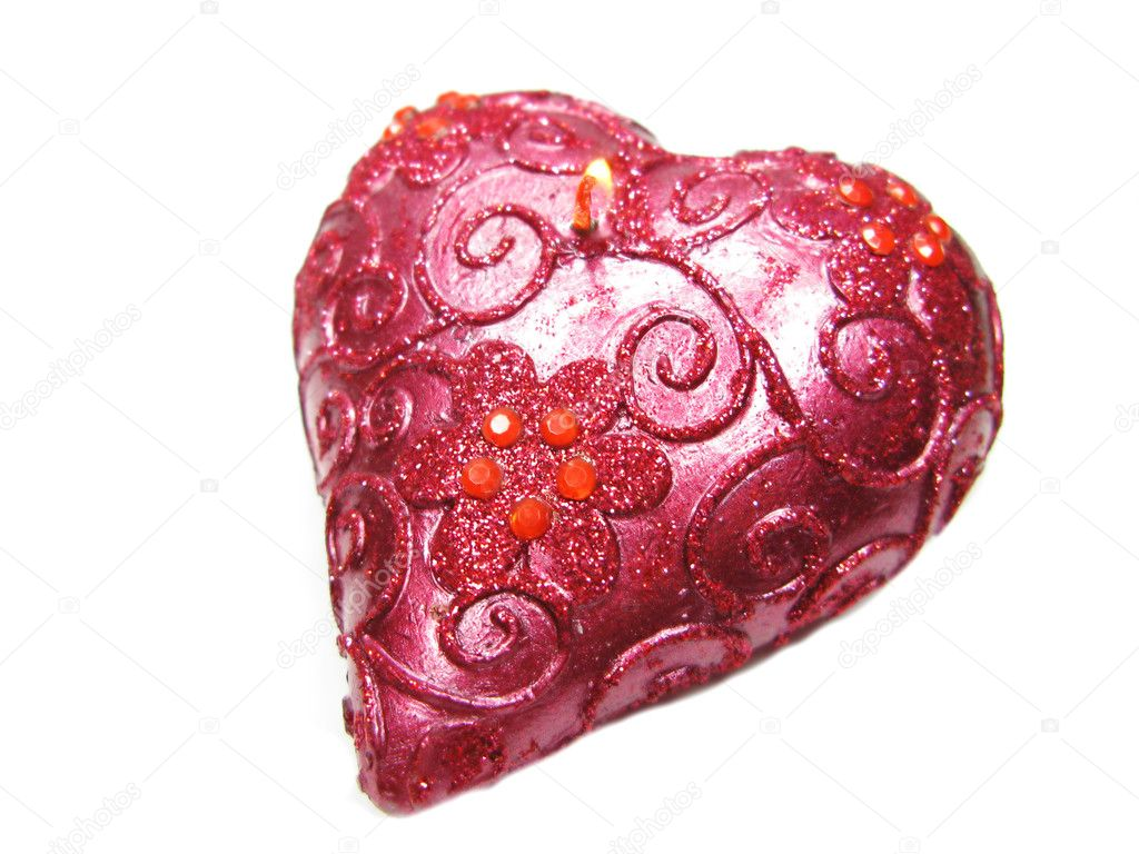 Aroma spa heart candle as present isolated — Stock Photo #9941488