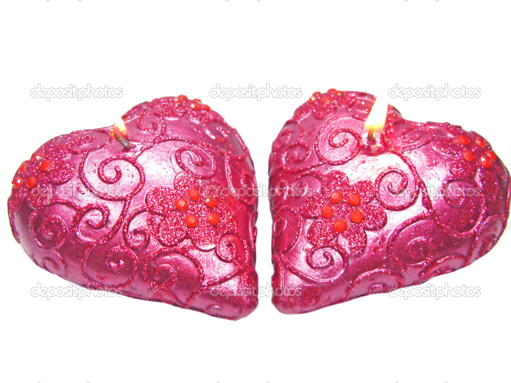 Set of heart scented candles as present isolated — Stock Photo #9941518
