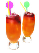 Two fruit red punch cocktail drinks with strawberry — Stock Photo