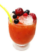 Two fruit red punch cocktail drink with berries — Stock Photo