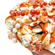 Heap of red semigem beads — Stock Photo