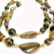 Jewellery semiprecious brown beads - Stock Photo
