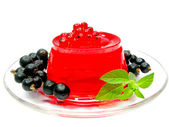 Currant red jelly dessert with marmalade and berries — Stock Photo