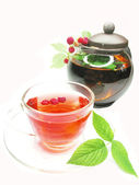 Fruit red tea with raspberry extract — Stock Photo
