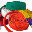 Karate belts pile - Stock Photo