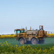 Crop spraying in green field — Stok Fotoğraf #10609798