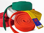 Karate belts pile — Stock Photo
